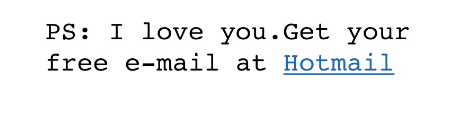 Hotmail với dòng chữ ký mặc định