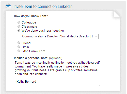Customizing LinkedIn invitation to connect